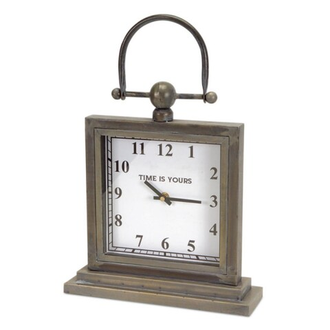 Pack of 2 Antique Gray Metal Decorative Desk Clocks with Handle 12""