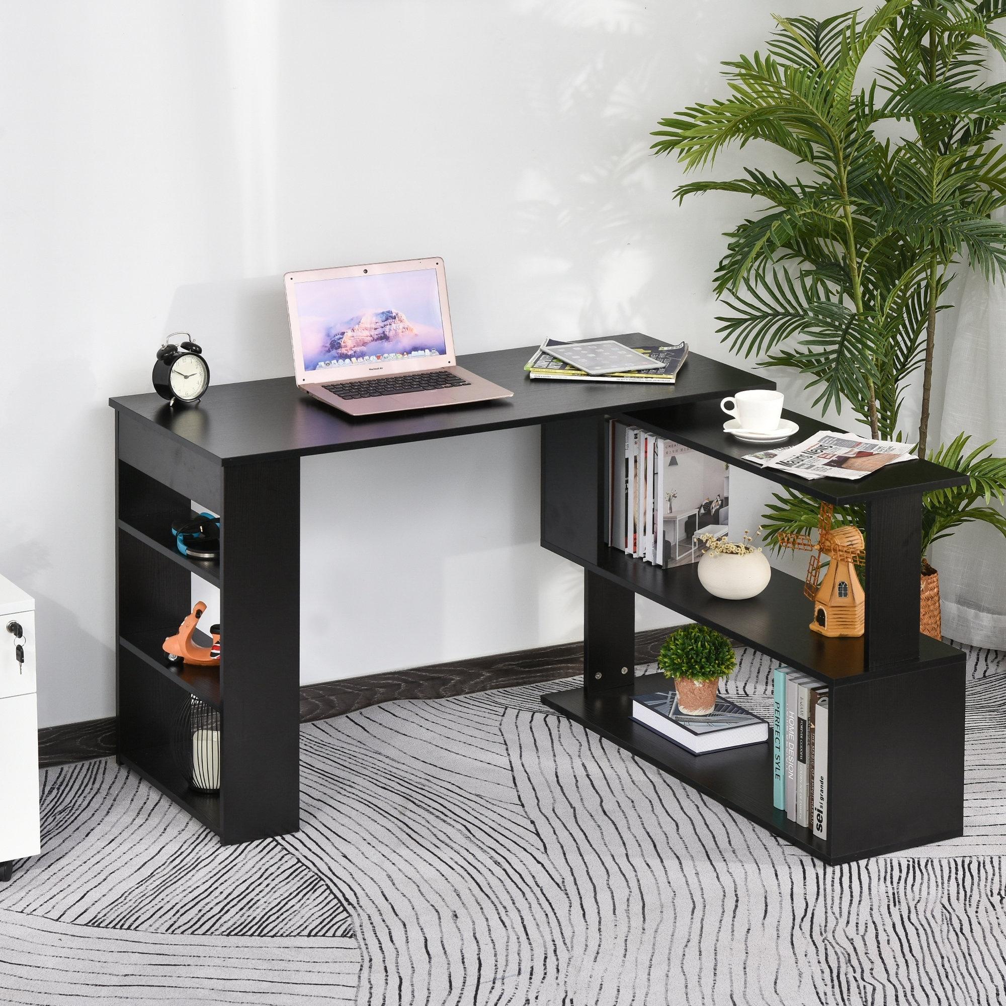 Porch %26 Den Arbordale Black Finish L shaped Rotating Computer Desk with Bookshelves