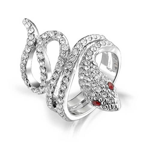 Spiral Wrap Serpent Snake Cocktail Ring For Women Red Eye Cubic Zirconia CZ Silver Plated Brass