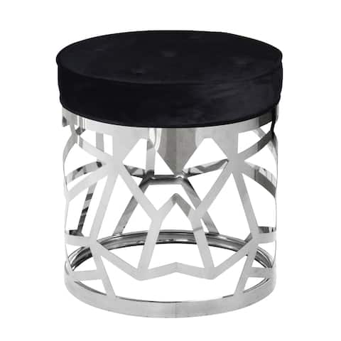 Round Fabric Upholstered Ottoman with Cut Out Metal Frame, Black and Silver