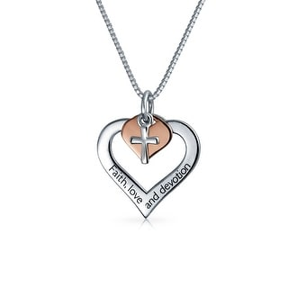 AYLLU Rose Gold Plated .925 Silver Heart Cross Pendant Necklace 18in