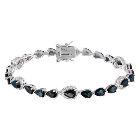 Pear-Cut London Blue Topaz Tennis Style Bracelet, Sterling Silver