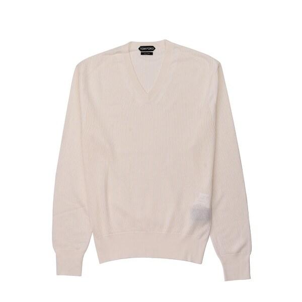 Shop Tom Ford Mens Ivory Cotton Blend V Neck Sweater M
