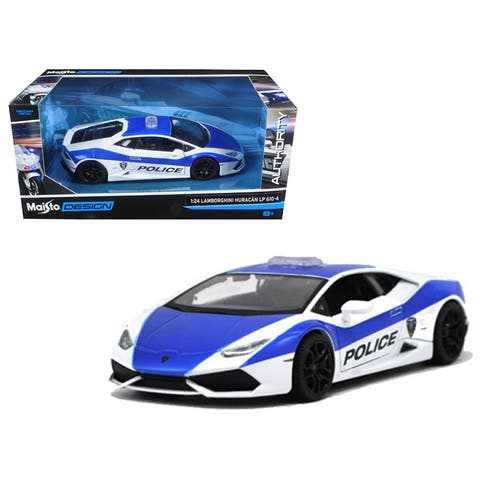Lamborghini Huracan LP610-4 Police White and Blue 1/24 Diecast Model Car by Maisto