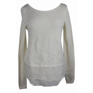Lucky Brand Ivory Lace Contrast Sweater M