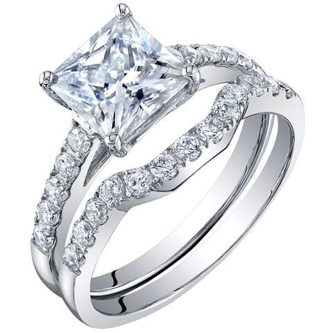 2 Carat Moissanite Princess Cut Engagement Ring Wedding Band Bridal Set in Sterling Silver