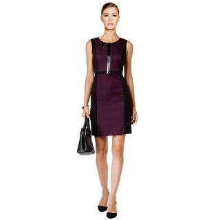 Tahari ASL Faux Leather Trim Colorblocked Cocktail Career Dress - 10