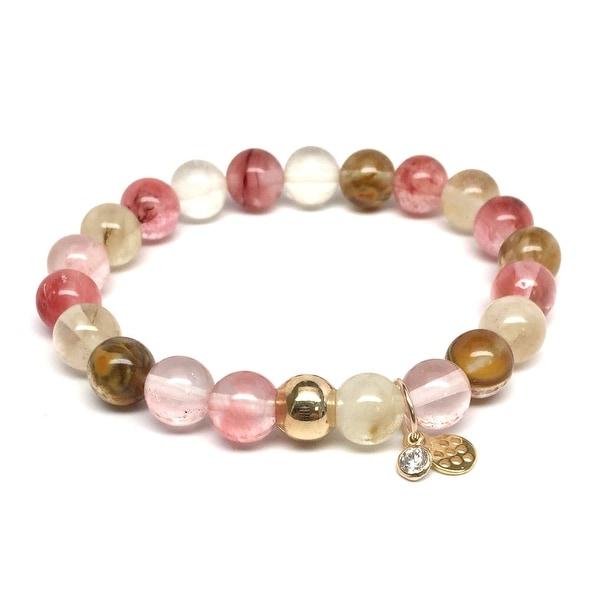 "Pink Cherry Quartz Zoe 7"" Bracelet"