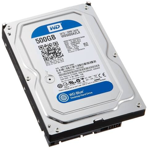"Western Digital Blue 500GB 7200 RPM 3.5"" SATA 6Gb/s Hard Drive - Silver - 1.02 x 3.97 x 5.78 inches"