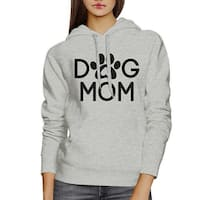 Dog Mom Unisex Grey Cute Graphic Hoodie For Dog Owners Round Neck