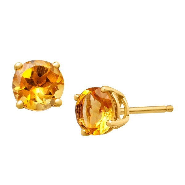 3/4 ct Natural Citrine Stud Earrings in 14K Gold - Yellow