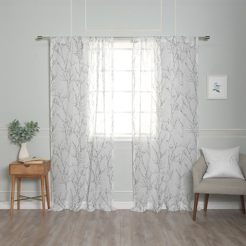 Aurora Home Sheer Watercolor Tree Branch Curtains