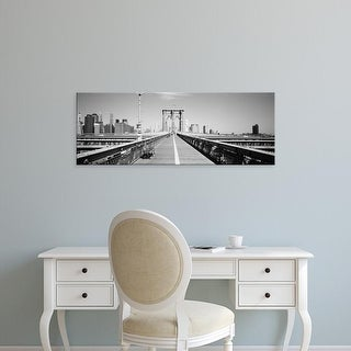 Easy Art Prints Panoramic Image 'Bench on bridge, Brooklyn Bridge, Manhattan, New York City, New York State' Canvas Art