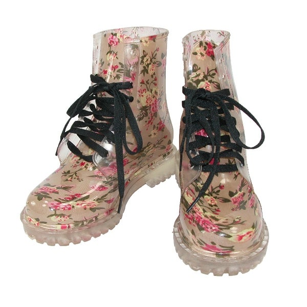 Cecilia Undercover Women's Pink Floral Totally Jelly Clear Rain Boots