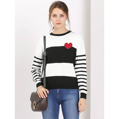 Allegra K Women's Striped Color Block Crewneck Knitted Tops