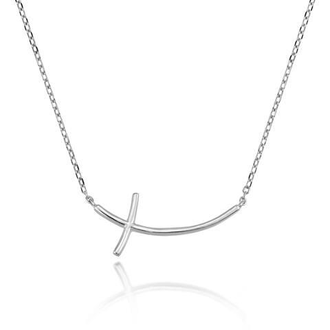 Handmade Elegant Faith Stylized Sterling Silver Cross Sideway Pendant Necklace (Thailand)