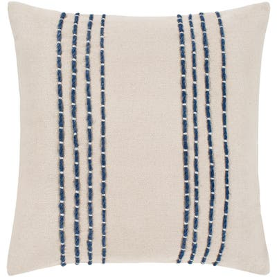 """Malik Cream & Navy Hand Embroidered Throw Pillow Cover (18"""" x 18"""")"""
