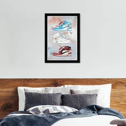 Hatcher & Ethan 'Sneaker Collection' Wall Art Framed Print - Gray, Red