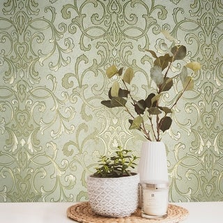 Link to Wallpaper textured Victorian damask green gold striped Similar Items in Wall Coverings