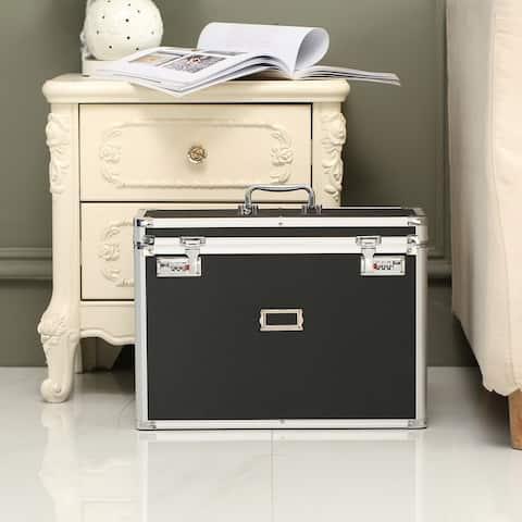 Locking Personal File Chest Organizer Tote Box Letter Size - Black