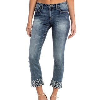Miss Me Denim Jeans Womens Cropped Bootcut Embroidery Med Wash