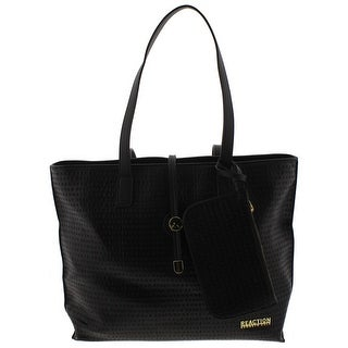 Kenneth Cole Reaction Womens Round About Tote Handbag Faux Leather Signature - Large