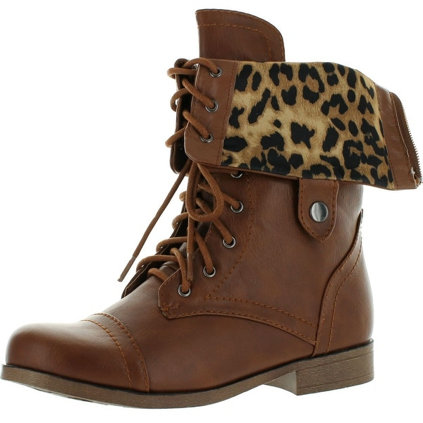Bumper Freda45i Women's Round Toe Lace Up Back Zipper Military Mid Calf Boot - Cognac