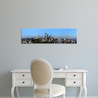 Easy Art Prints Panoramic Image 'City with mountains, Space Needle, Mt Rainier, Seattle, Washington' Canvas Art