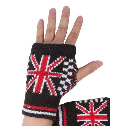 United Kingdom Thumb Free Finger Glove - Black/Red/White