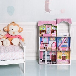 Gymax 46'' Pink Dollhouse w/ Furniture Gliding Elevator Rooms 3 Levels Young Girls Toy