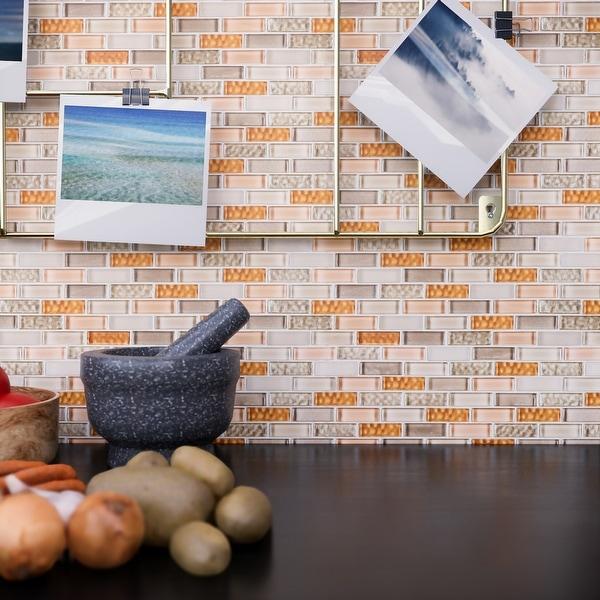 """TileGen. Small Brick 1/2"""" x 2"""" Glass Mosaic Tile in Beige/Orange Wall Tile (10 sheets/9.8sqft.). Opens flyout."""