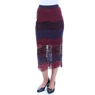 Womens Maroon Navy Floral Midi Pencil Skirt Size 2XS