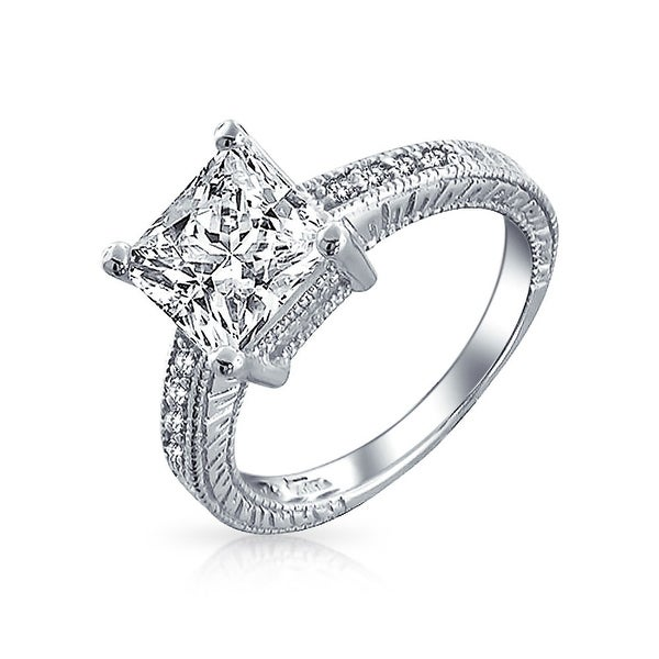 ef4bbc3f6300cd Shop 3 CT Princess Cut Square Solitaire Milgrain Pave Band Princess Cut AAA CZ  Engagement Ring For Women 925 Sterling Silver - On Sale - Free Shipping On  ...