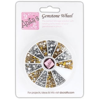 Anita's Gemstone Wheel W/Glue-On Gems-Gold & Silver