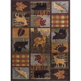 Link to Alise Rugs Natural Lodge Novelty Lodge Area Rug Similar Items in Rustic Rugs