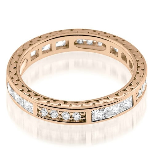1.00 cttw. 14K Rose Gold Vintage Round And Princess Cut Diamond Eternity Ring