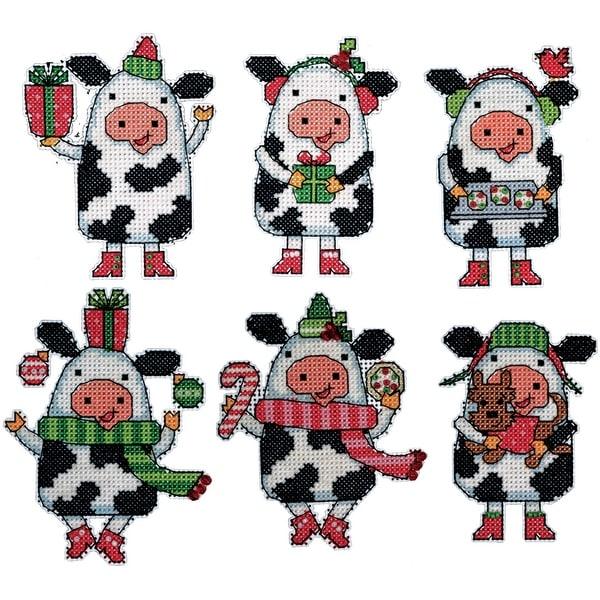 "Cow Ornaments Plastic Canvas Kit-3""X4"" 14 Count Set Of 6"