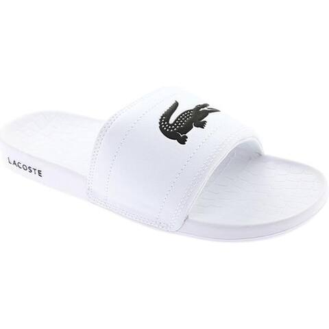 0aab08ac1a63 Lacoste Men s Frasier Slide Sandal White Black Synthetic