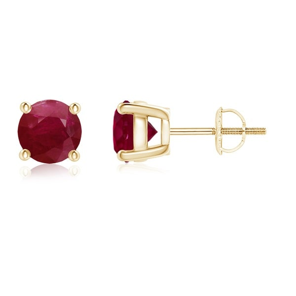 Angara Round Ruby Studs for Women in 14k Yellow Gold 3VeUN