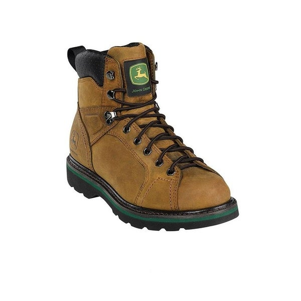 John Deere Work Boots Mens Round Toe Leather Lacer Dark Brown