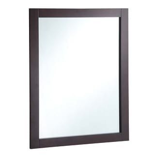 "Design House 547083  30"" Wall Mounted Mirror with Wooden Frame and Plain Glass Edge - Espresso"