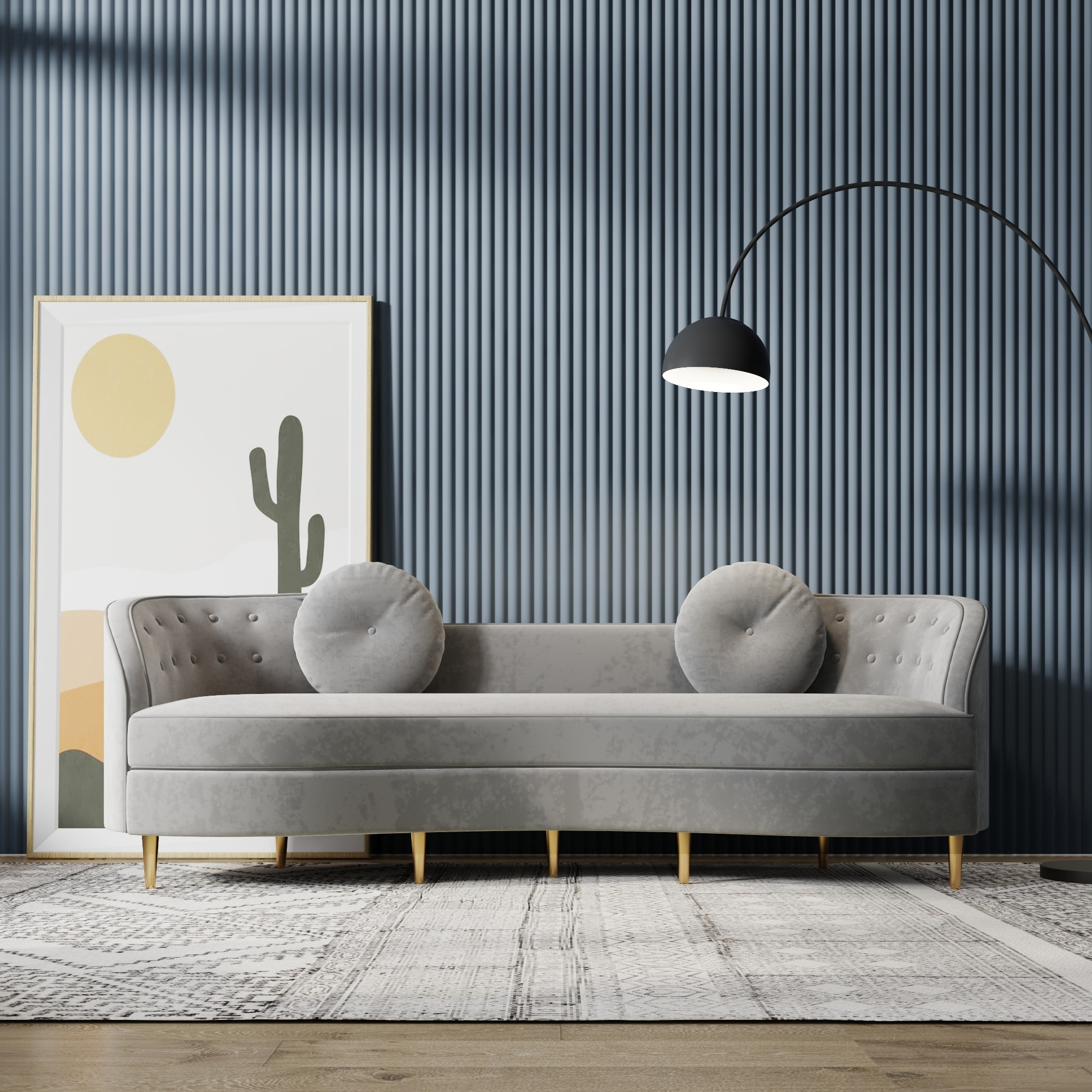 Magic Home Potenciano Velvet Sofa with Solid Wood Frame and Metal Legs