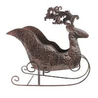 "12.25"" Folk Art Style Christmas Reindeer Sleigh Table Top Planter"