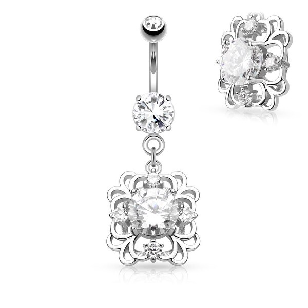 Round CZ Center Square Floral Filigree Dangle Surgical Steel Belly Button Navel Ring-14GA(Sold Ind.)