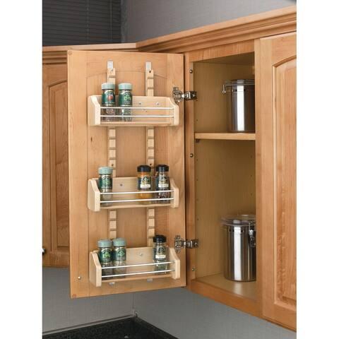 "Rev-A-Shelf 4ASR-15 4ASR Series Adjustable Door Mount Spice Rack with 3 Shelves for 15"" Wall Cabinet - Natural Wood"