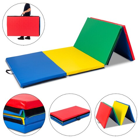 """Costway 4'x10'x2"""" Gymnastics Mat Folding Panel Thick Gym Fitness Exercise Multicolor"""