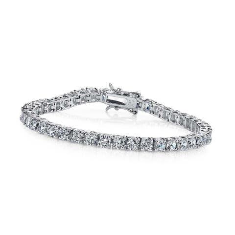 Collette Z Collette Z Sterling Silver Platinum Plated Cubic Zirconia Tennis Bracelet