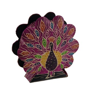 Colorful Embossed Leather Peacock Shaped Coin Bank (Option: Pink)