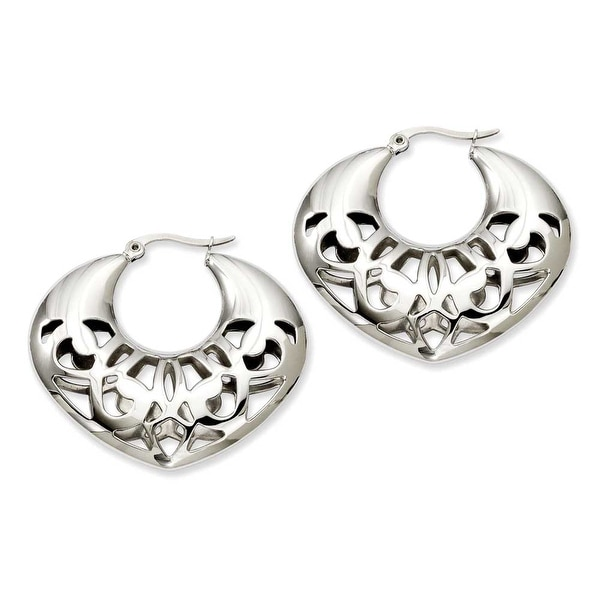Stainless Steel 40mm Fancy Cutout Hoop Earrings