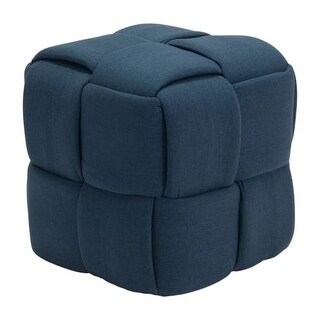 """Zuo Modern 100640 Checks 20"""" Wide Basket Weave Upholstered Accent Stool"""